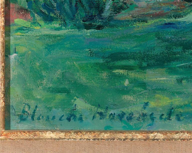 Dans le Jardin à Sorel-Moussel  - Blue Landscape Painting by Blanche Hoschedé-Monet