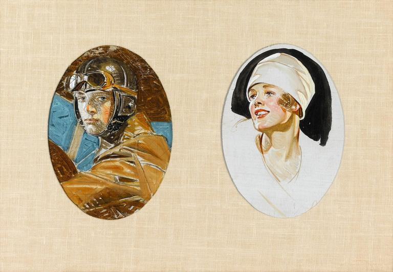 Aviator and Woman in a White Hat by J.C. Leyendecker - Painting by Joseph Christian Leyendecker