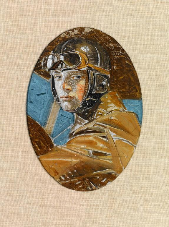 Aviator and Woman in a White Hat by J.C. Leyendecker - Other Art Style Painting by Joseph Christian Leyendecker