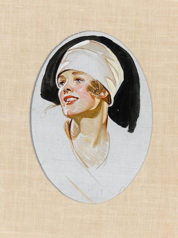 These rare portraits were painted by the American master of illustration, J. C. Leyendecker, as studies for Kuppenheimer advertisements. Bold and energetic, they perfectly encapsulate Leyendecker's signature style. Depicting a young aviator of the