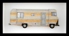 "Miniature paper sculpture camper ""NUT HUT"""