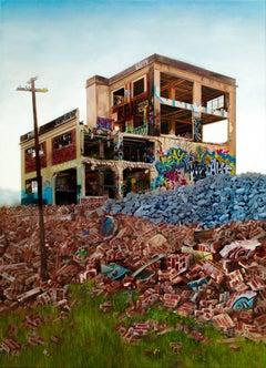 """Demolition Day"", Photorealistic oil painting, Graffiti Landscape"