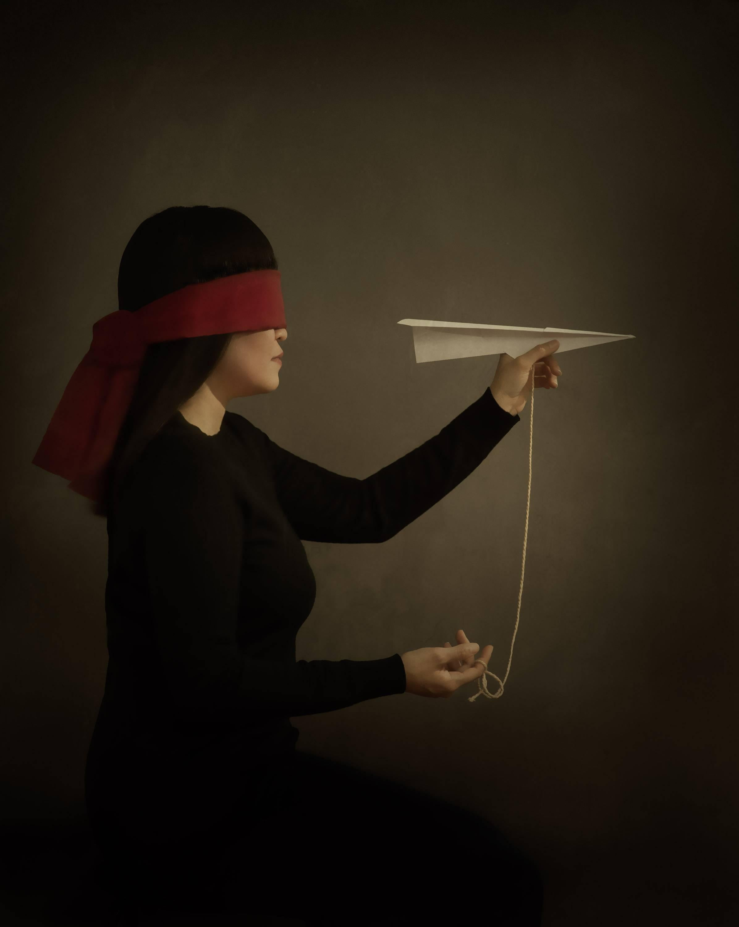 """""""Uncertainty"""", Illustrative Photography, Blindfolded Figure, Paper Airplane"""