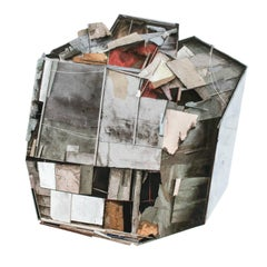 """""""Mass Study VI"""", Layered Paper and Drawing Collage, Architectural, Distressed"""