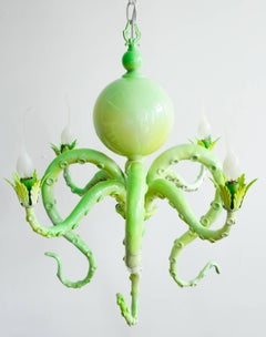 """Chandelier I"" Hanging green chandelier with tentacles"
