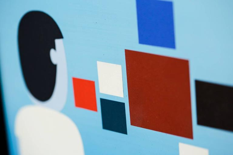 OBSERVER - Blue Figurative Painting by Jim Houser