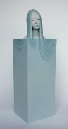 """Overflow"", Blue, Figurative, Sculpture, Bust, Polymer Gypsum, Ethereal"