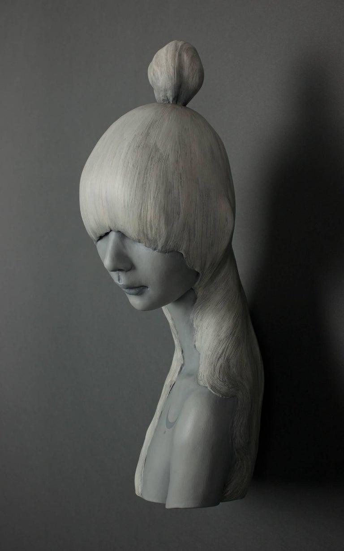 Moon - Black Figurative Sculpture by Gosia