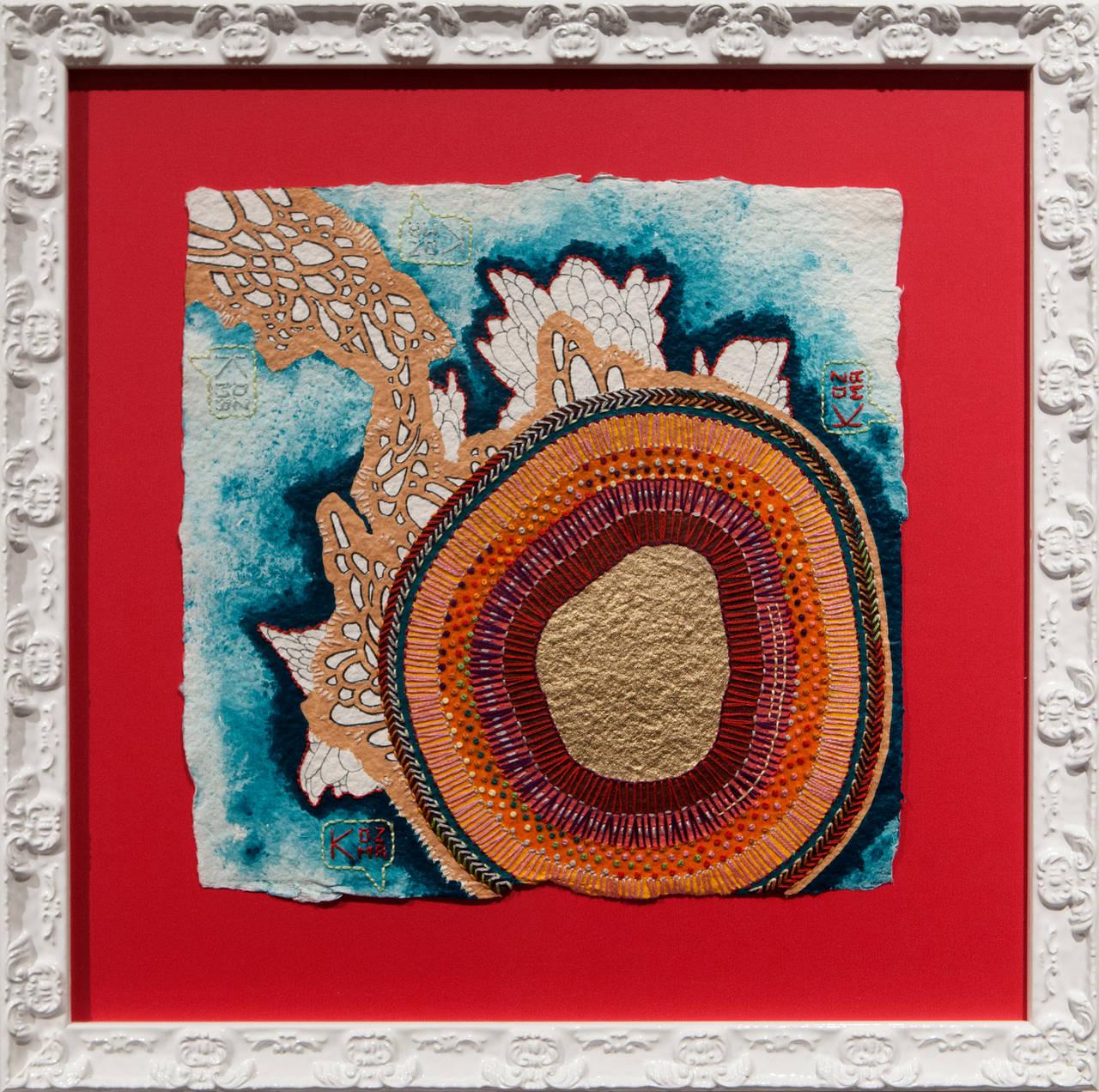 """Rosy"", original mixed media embroidery"