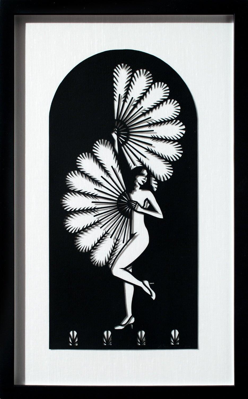 """""""Fan Dancer"""", Hand-Cut Black Paper, Figurative, Woman with Fan, Illustration"""