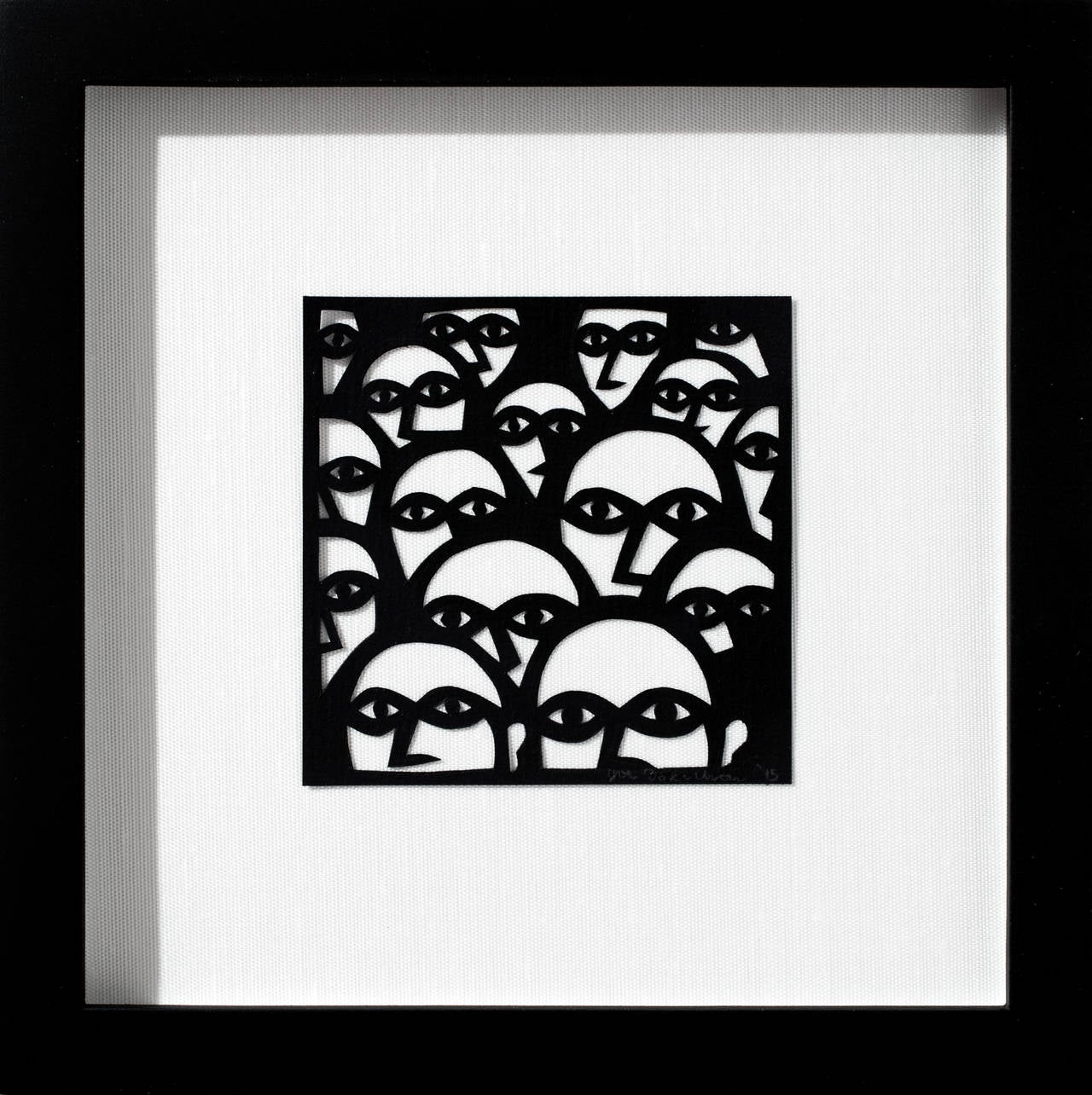 """""""Scene from """"Everyone, Keep Watching"""""""", Hand-Cut Black Paper, Illustration"""