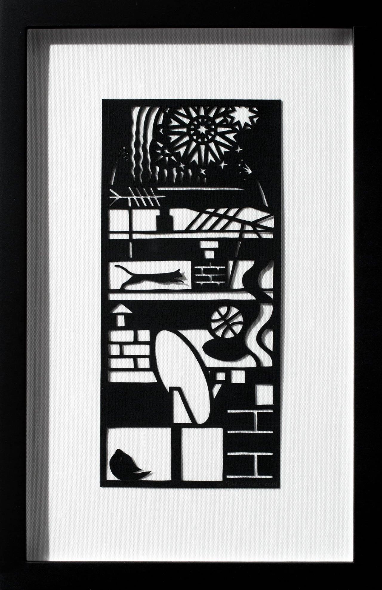 """Fourth of July"", Hand-Cut Black Paper, Figurative Scene, Illustration"