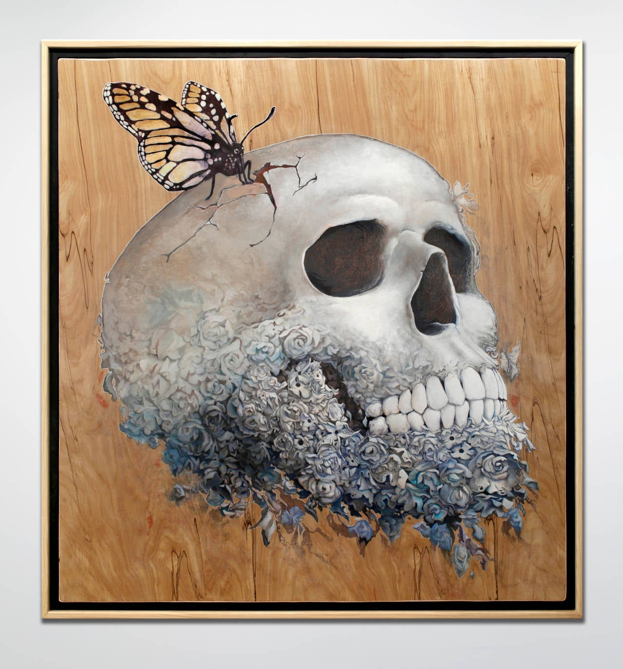 Skull and butterfly painting by Kyle Fisher on birch wood in a handmade wood frame measuring 55in x 51in.  Artist Statement // My works evaluate and challenge the process by which the observable is identified and recorded. The iconography we gather