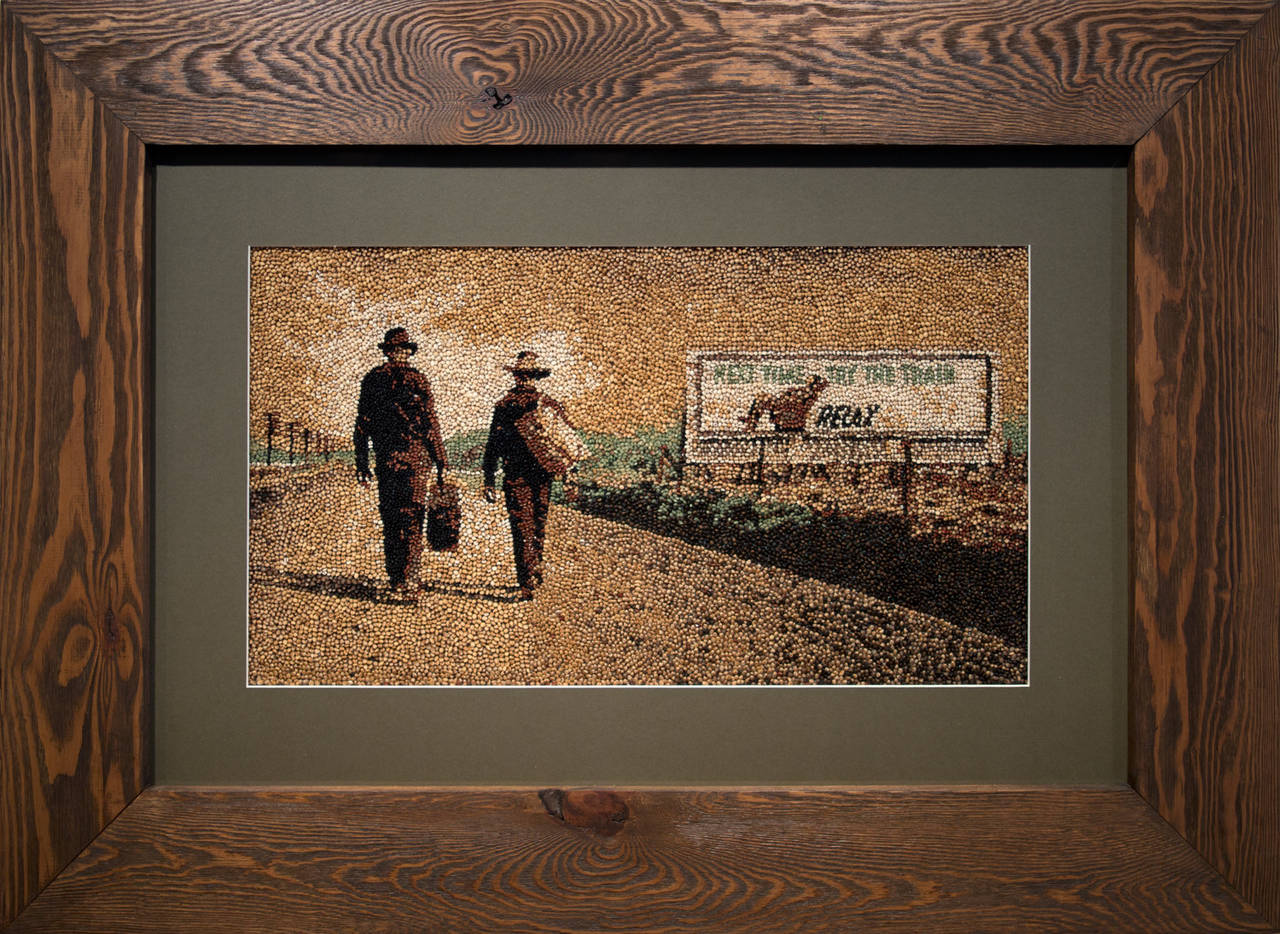 """Try the Train"" is an original work by American artist Abby Elizabeth Schmidt. All of the works in this series by the artist were made using hundreds to thousands of individually placed grains on repurposed pallet frames. 10% of the artist's"