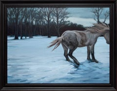 """Alive and Well"", Winter Landscape with Horse Oil Painting, Snow Scene"