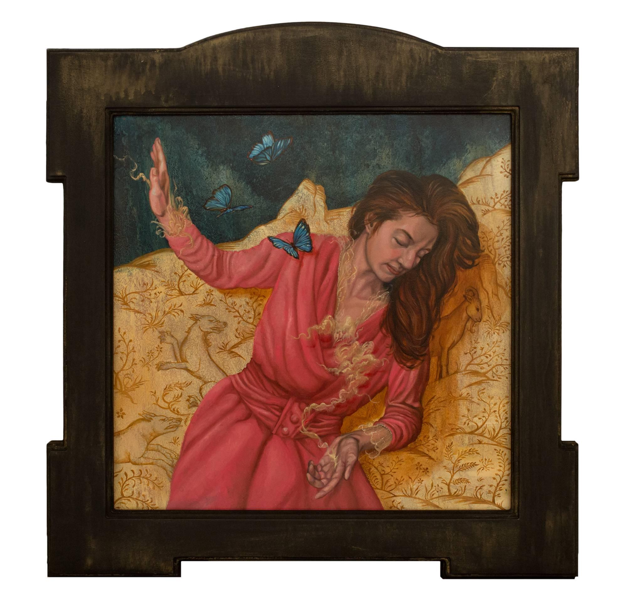 """""""Heroine (Intercessor)"""", Figurative Oil Painting, Seated Woman with Butterflies"""