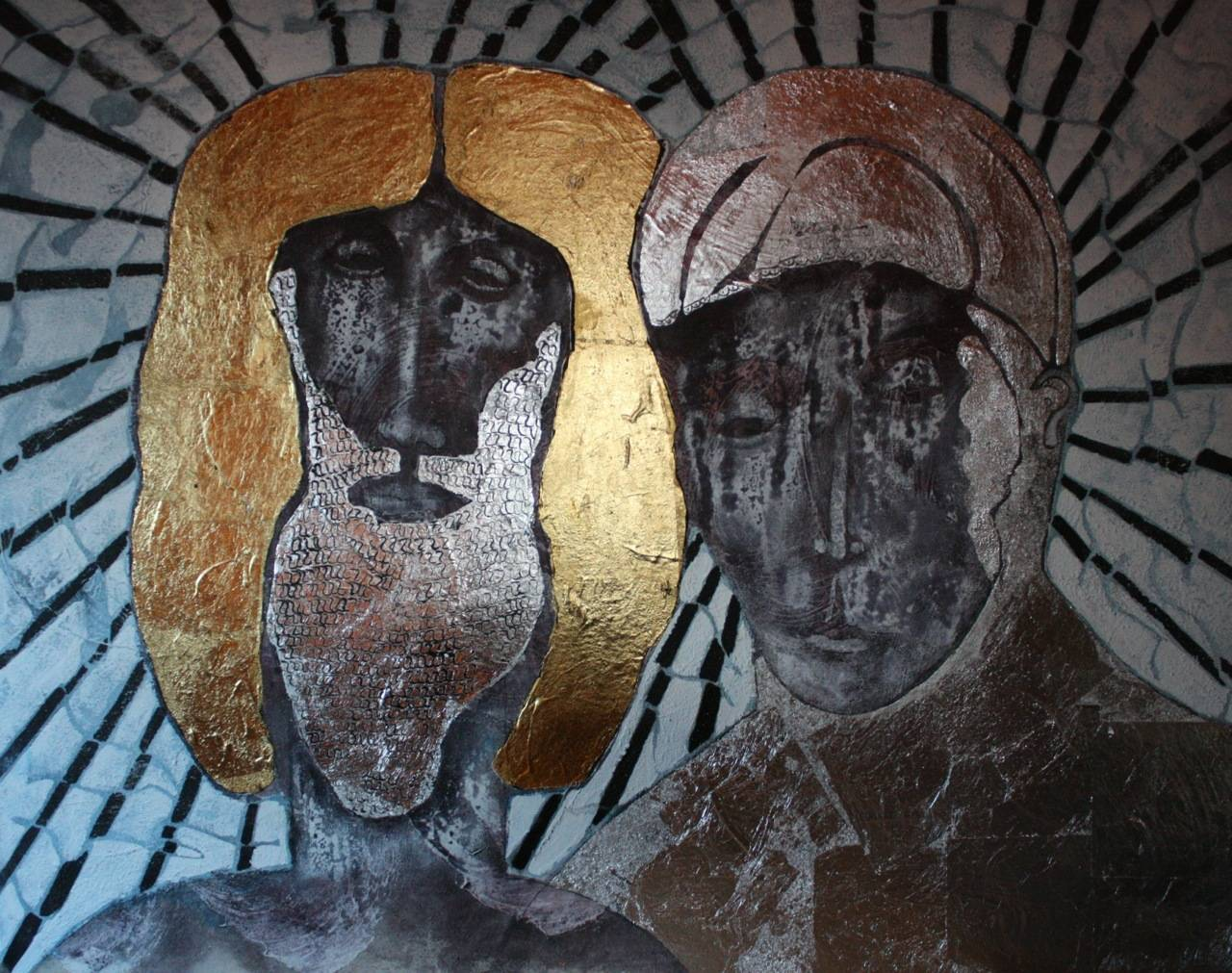 Clothed In Light, Abraham and Sarah - Painting by Sax Berlin