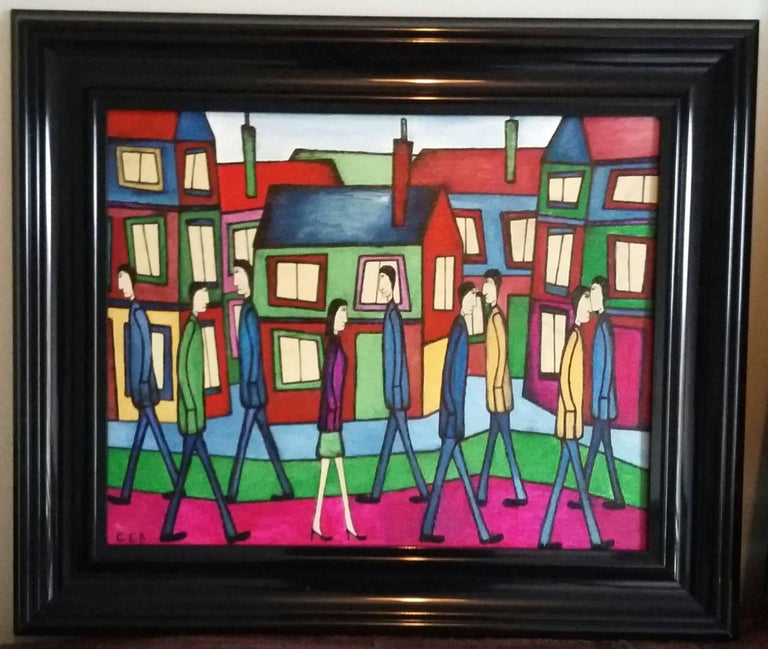 Christopher Barrow Figurative Painting - Strolling Along