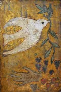 Dove of Peace II.  Contemporary Mixed Media Painting