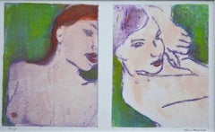 Pair of Nudes in Green:Contemporary Limited Edition Etching