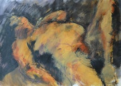 Reclined Pose: Mixed media painting on paper