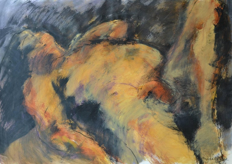 Angela Lyle Nude Painting - Reclined Pose: Mixed media painting on paper