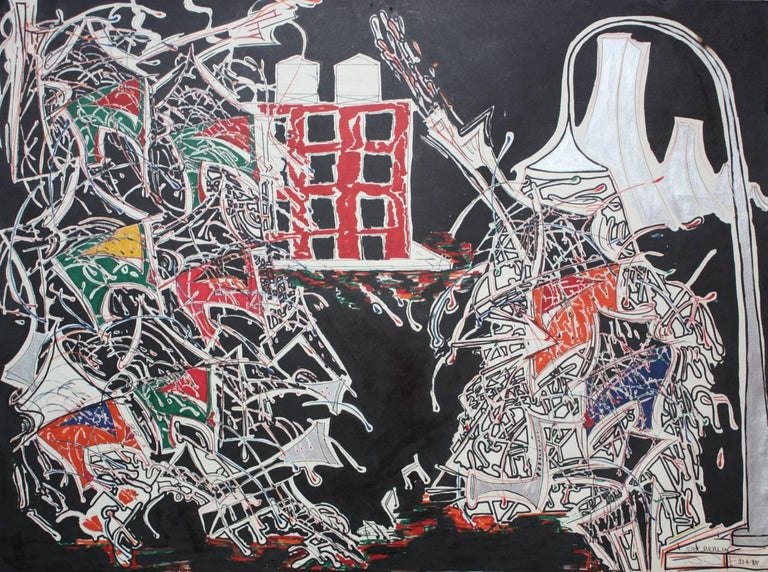 Sax Berlin Abstract Painting - Neo Expressionism: On The Corner East Village