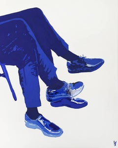 Mr Blue: Contemporary Figurative Acrylic On Canvas Painting by Anna Malikowska