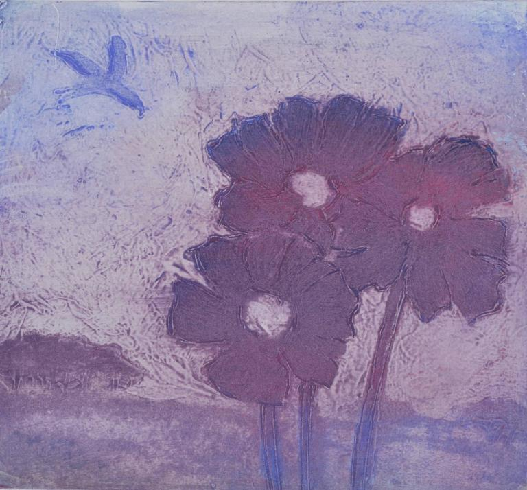 ian laurie purple poppies print for sale at 1stdibs