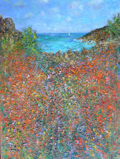 Summer, Porthgwarra, England: Contemporary Land/Seascape by Michael Strang