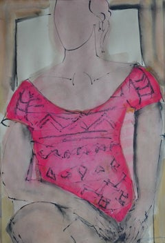 Sarah-Jane, Pink: Contemporary Mixed Media Figurative painting by John Emanuel