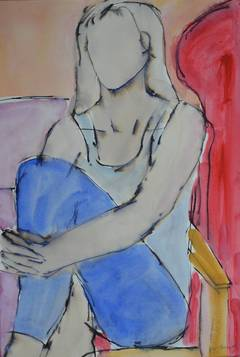 Romy In Jeans: Contemporary Mixed Media Figurative painting by John Emanuel