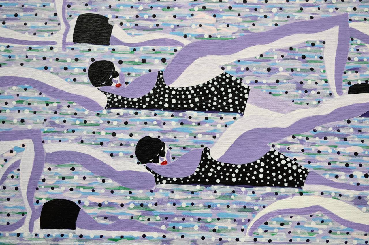 Lilac Swimmers - Painting by Walshe