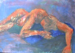 Sleeping: Mixed media painting on paper by Angela Lyle