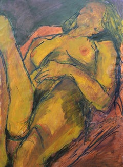 Reclining Nude: Mixed media painting on paper by Angela Lyle