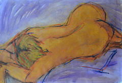 Lilac Body: Mixed media painting on paper by Angela Lyle