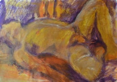 Sleeping Man: Mixed media painting on paper by Angela Lyle