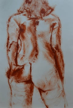 Sanguine Nude: Mixed media painting on paper by Angela Lyle