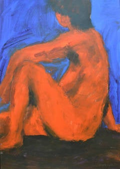 Neon Nude: Mixed media painting on paper by Angela Lyle