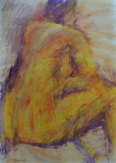 Yellow Back: Mixed media painting on paper by Angela Lyle