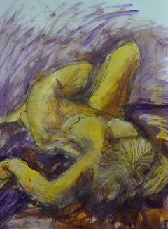 Relaxed, Purple: Mixed media painting on paper by Angela Lyle