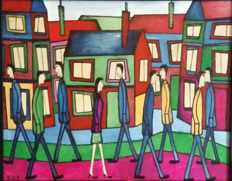 Strolling Along - Painting by Christopher Barrow