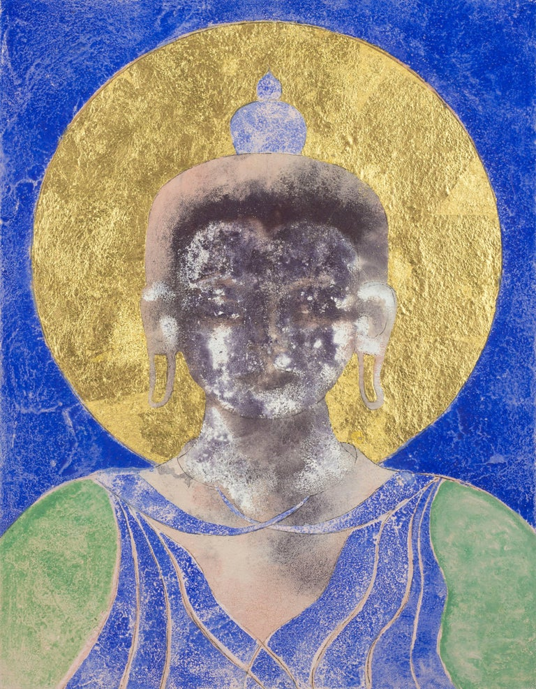 Loving Kindness. Contemporary Mixed Media Buddha Painting - Mixed Media Art by Sax Berlin