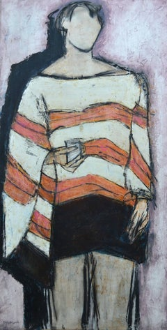 Stripy Top: Contemporary Mixed Media Figurative Painting by John Emanuel