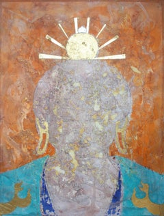 """Saffron Effulgence"".  Contemporary Buddha oil painting with gold leaf"