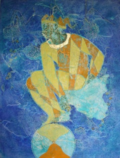 When Genius Flows We Become Luminous, Oil and Gold Leaf Figurative Oil Painting