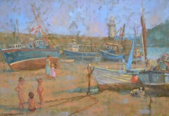 """Children Playing, Low Tide"". English Figurative Oil Painting"