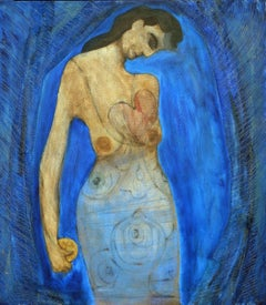 The Healer, Contemporary Mixed Media Figurative Painting