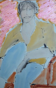 In The Pink: Contemporary Mixed Media Figurative painting by John Emanuel