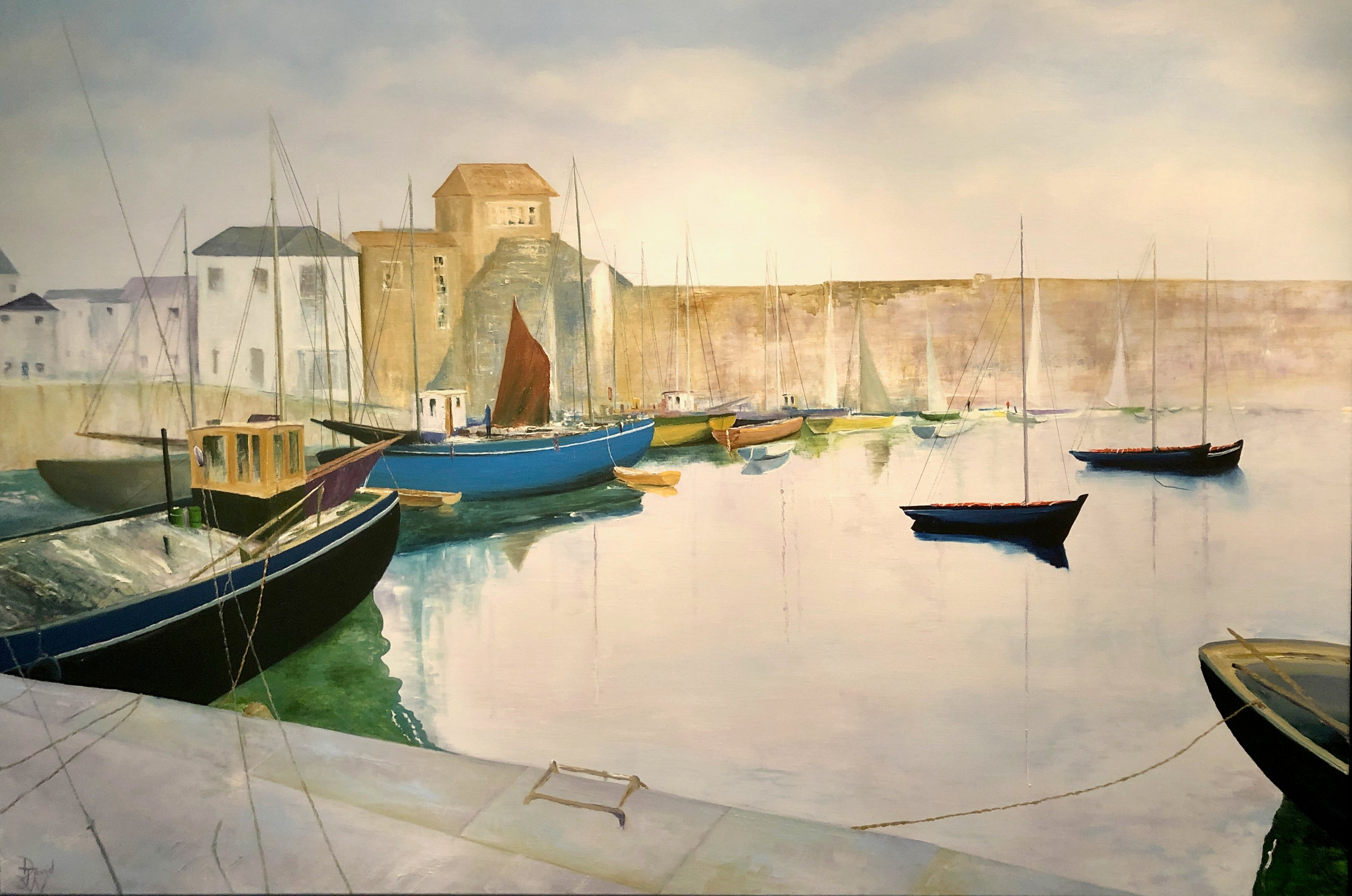 Tranquil Harbour. Large Contemporary Landscape Oil Painting
